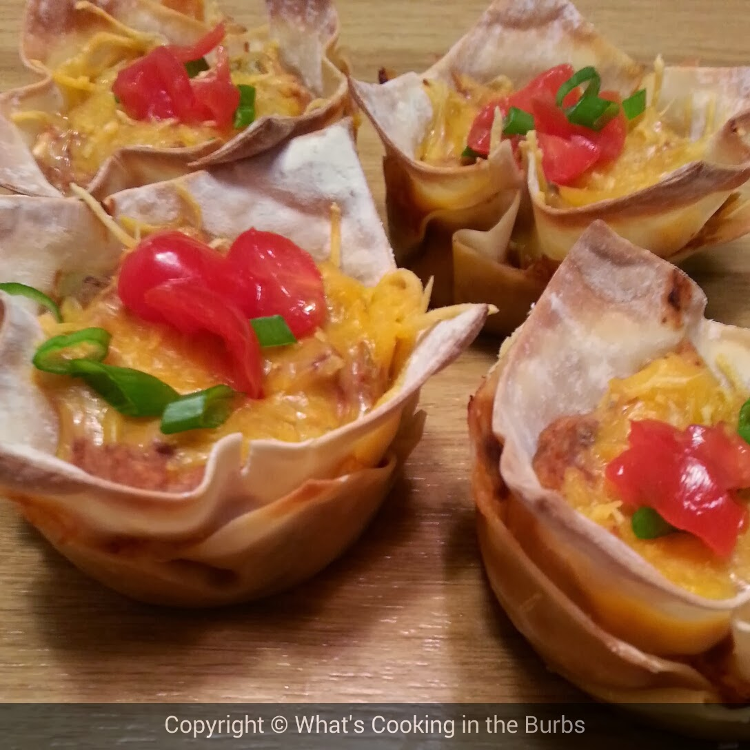 What's Cooking in the Burbs: Salsa Cream Cheese Chicken Taco Cups