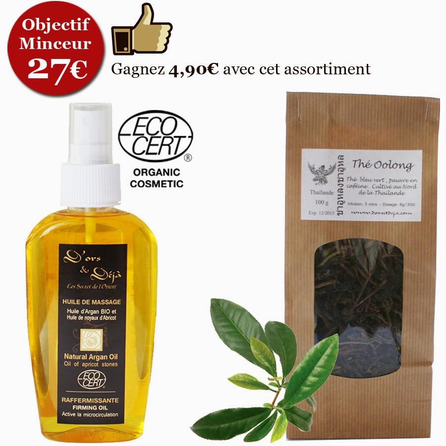 Huile de massage à l'argan bio et thé vert oolong