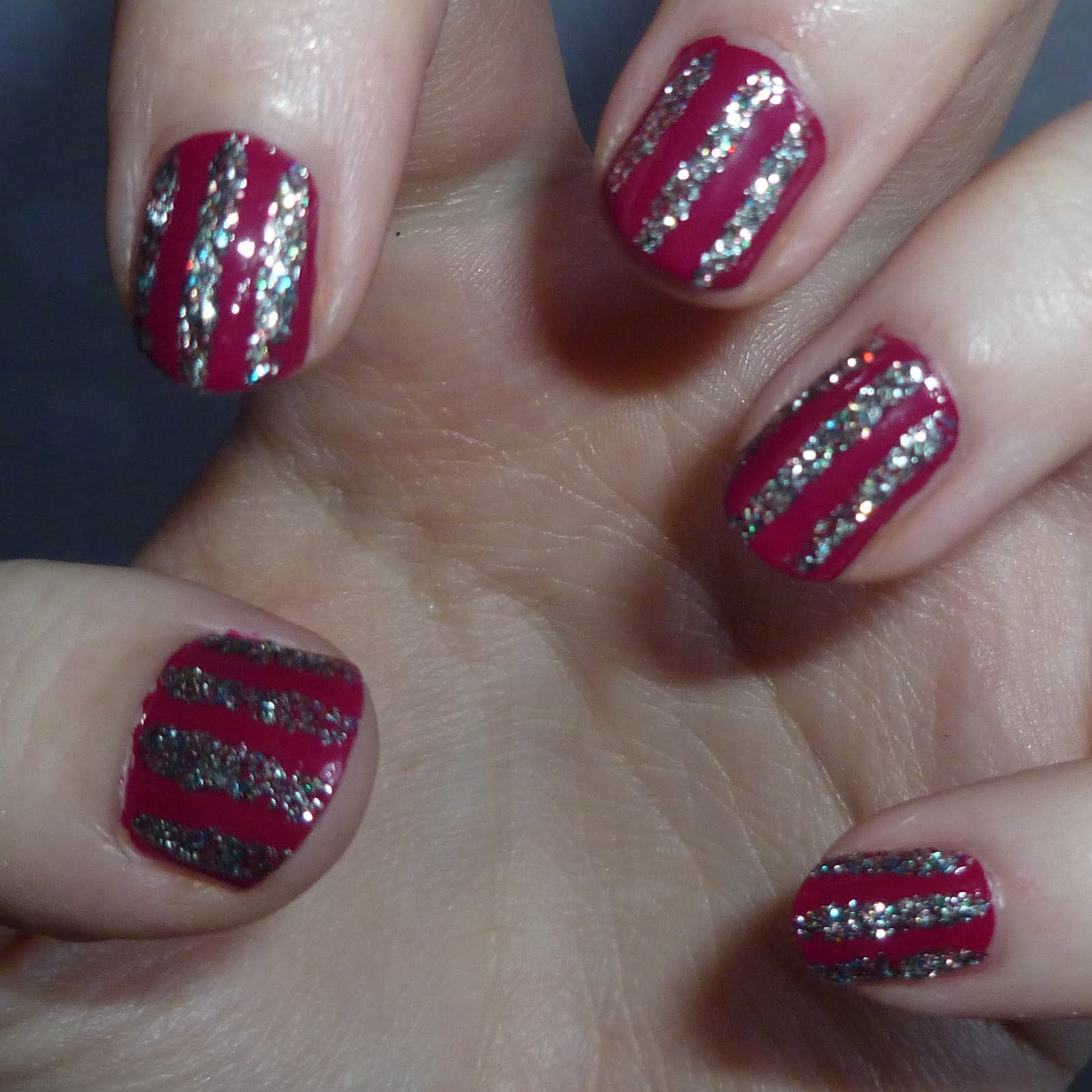 Glitter Stripe Nails