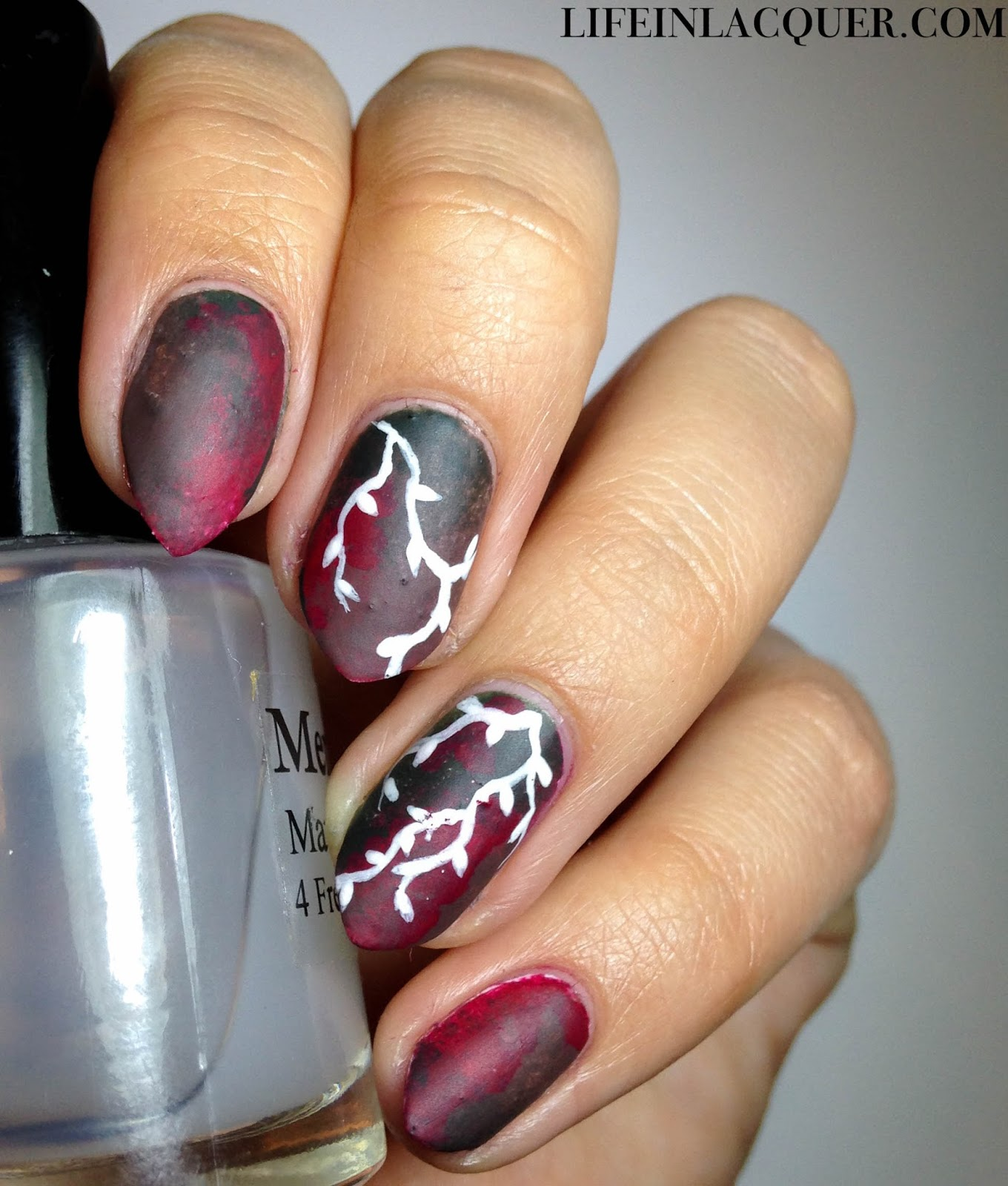 Autumn vine nail art using China Glaze Foie Gras