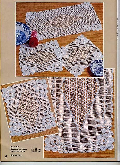 Hobby lavori femminili ricamo uncinetto maglia centri trittici uncinetto - Centri uncinetto camera da letto ...