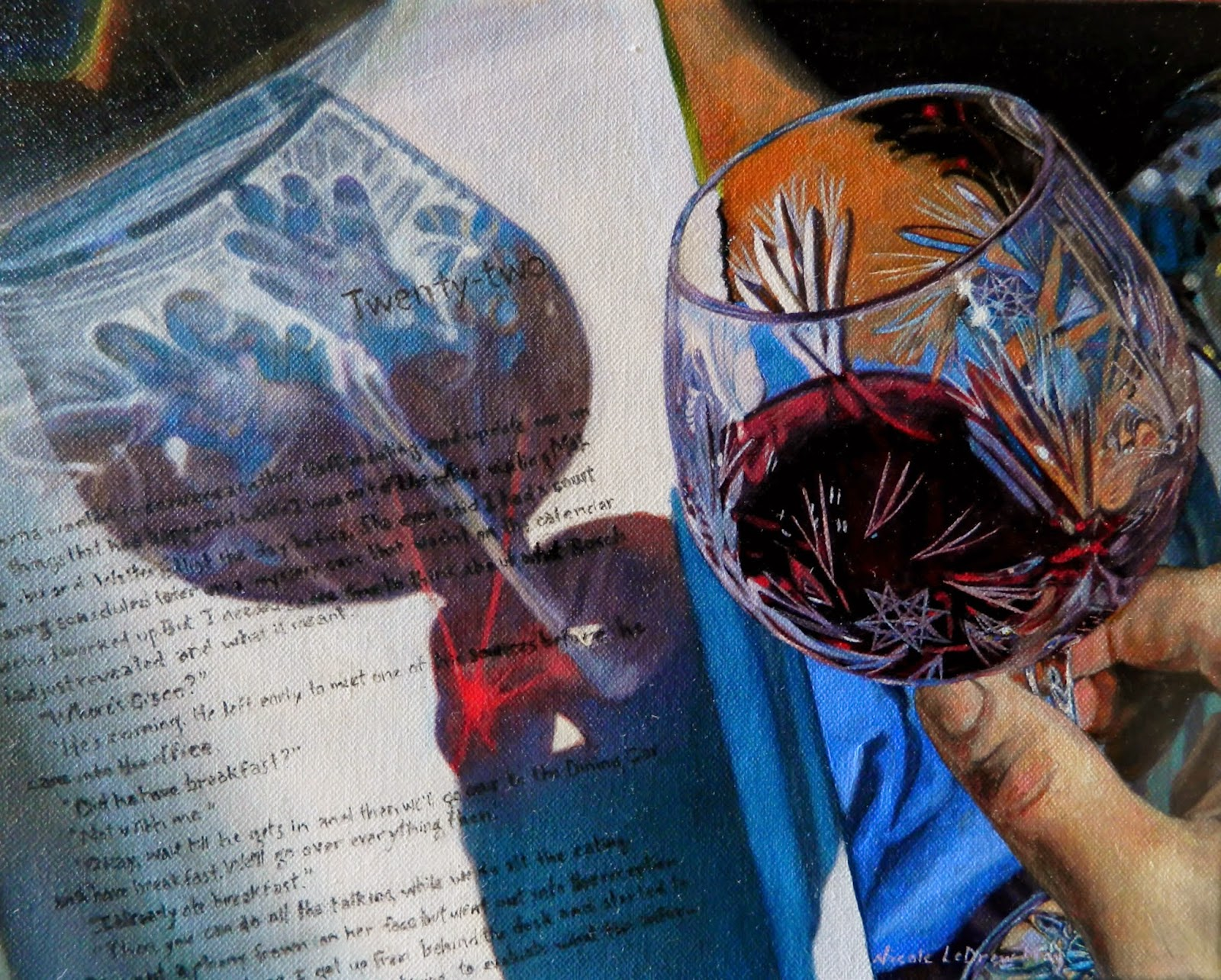 Wine glass oil painting