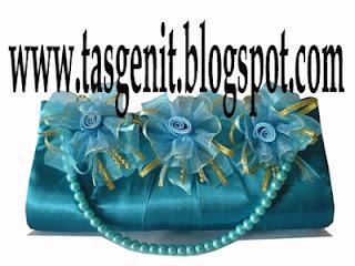 tas pesta bunga biru tosca tali mutiara