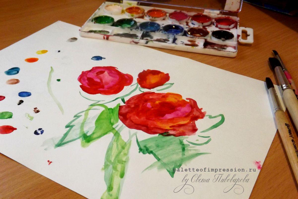 Розы. Детские рисунки акварелью. Два с половиной года. Блог Вся палитра впечатлений