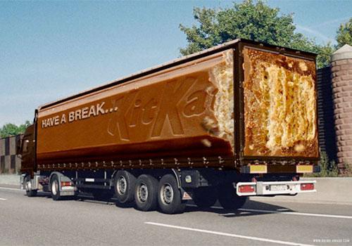 fotos de camiones curiosas publicidad anuncios kit kat barra chocolate