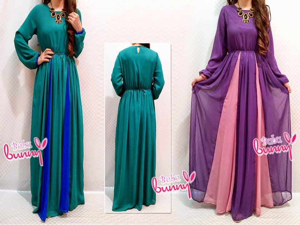 2 Tones Waist String Jubah Dress