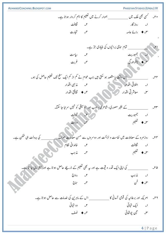 education in pakistan-mcqs-pakistan-studies-urdu-ix