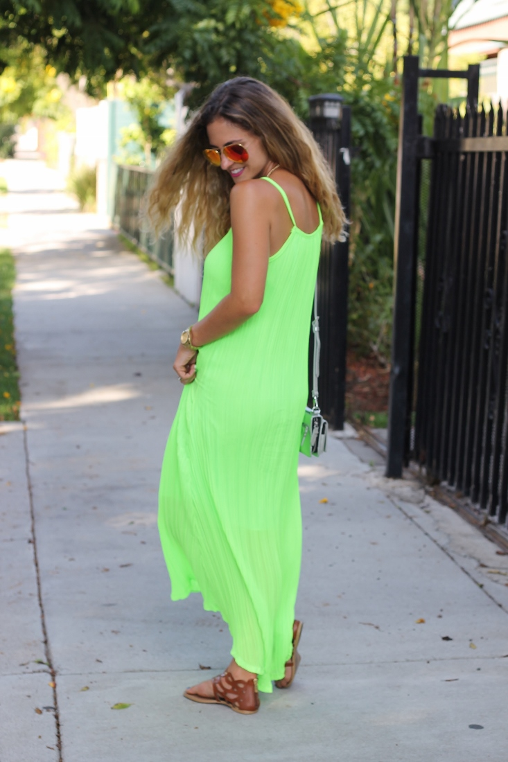 blonde hair color with neon green dress