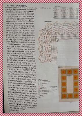 Tapete de Crochê colorido retangular com flores e gráficos