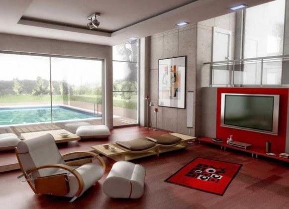 desain ruang keluarga lesehan modern
