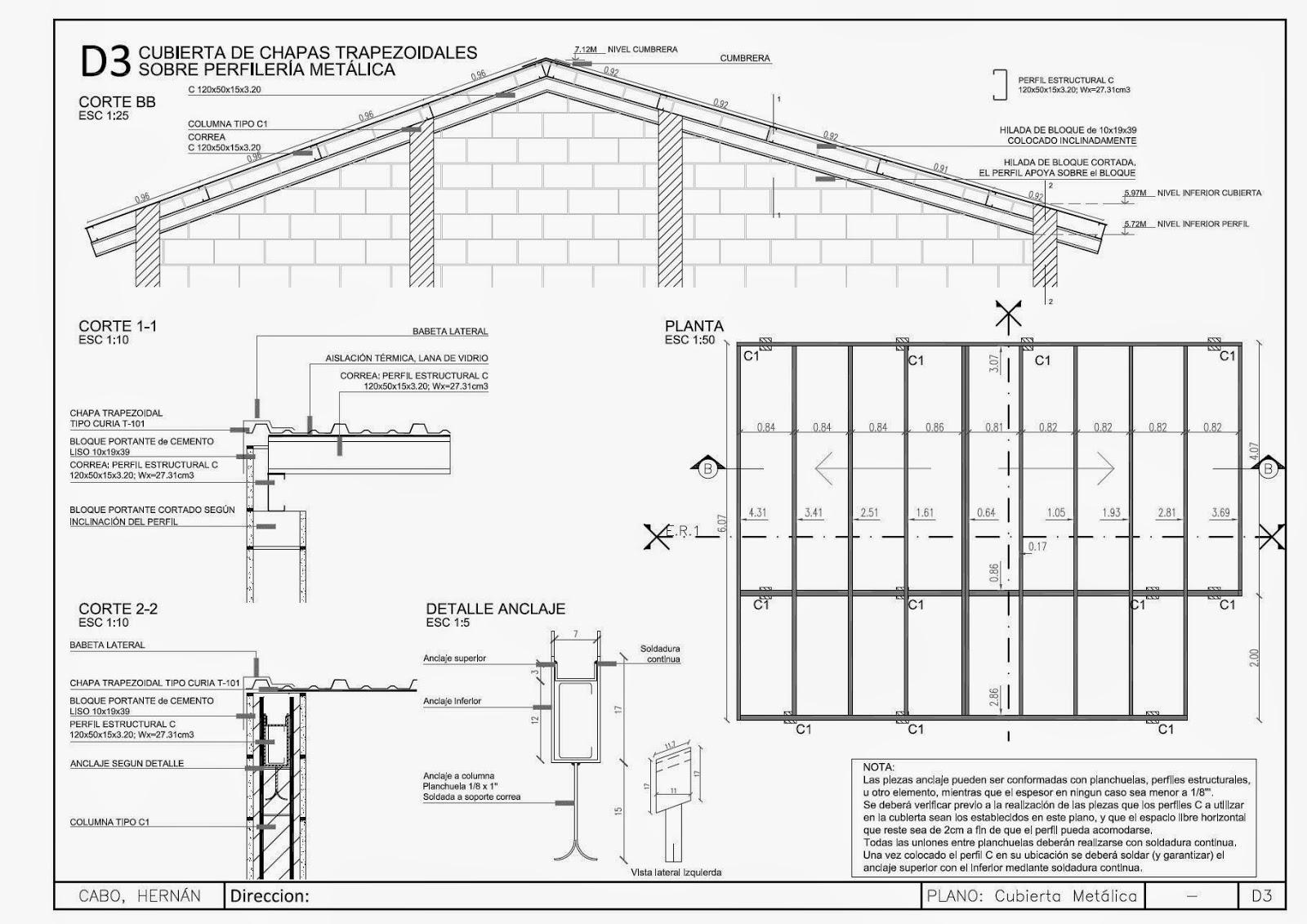 Detalles constructivos cad cubierta met lica con estructura de perfiles c - Detalle constructivo techo ...