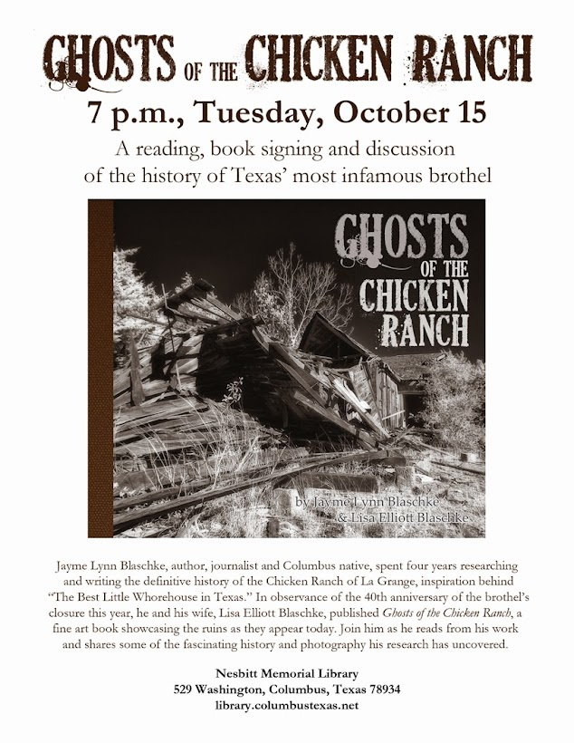Jayme Blaschke to give a presentation of the Chicken Ranch brothel of La Grange Texas at the Nesbitt Memorial Library in Columbus