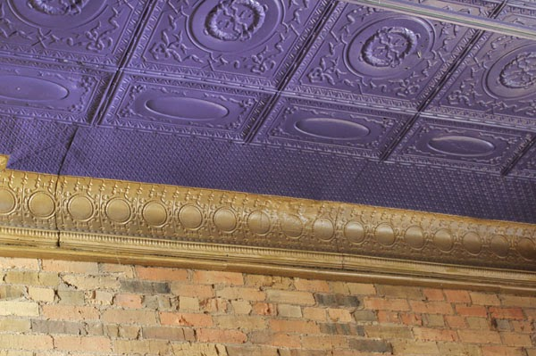 tin ceiling painted purple