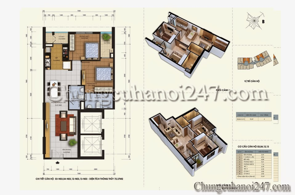 Mặt bằng căn hộ 72.37m2 chung cư 87 Lĩnh Nam