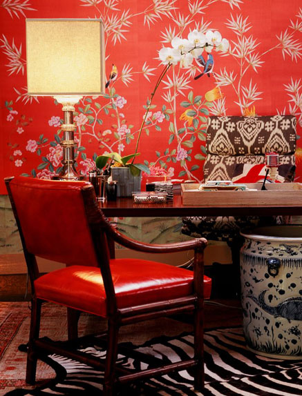 Chinoiserie chic red chinoiserie wallpaper high low for Asian office decor