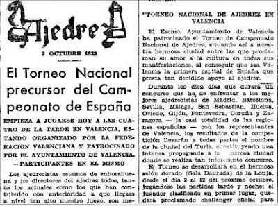 Recorte de Mundo Deportivo del 2 Octubre 1932 sobre la semifinal del Campeonato de España de Ajedrez