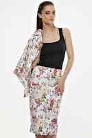 Fusta cu imprimeu floral din denim elastic F35 (Ama Fashion)