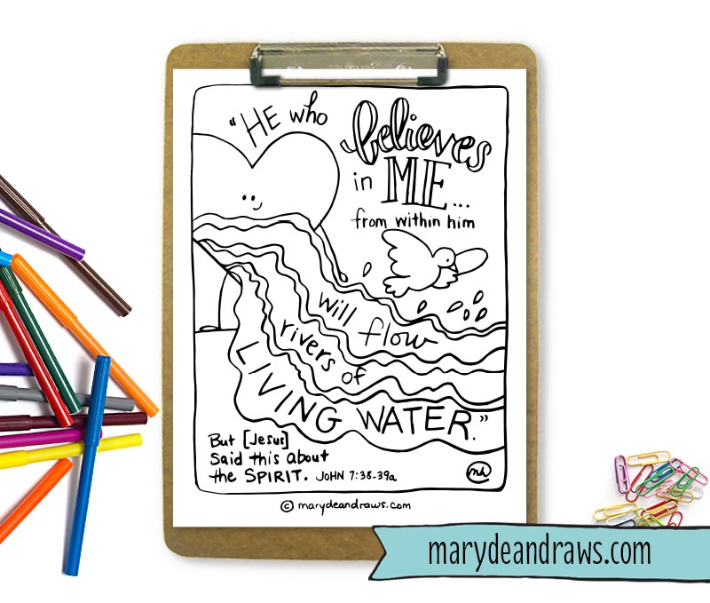 rivers of living water john 738 printable scripture coloring page