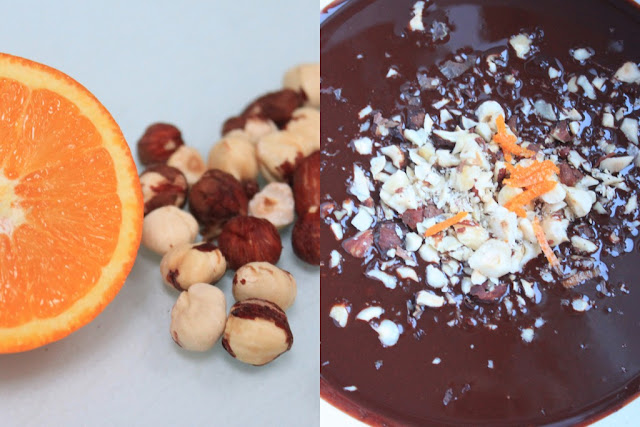 raw chocolate truffles with orange and hazelnuts