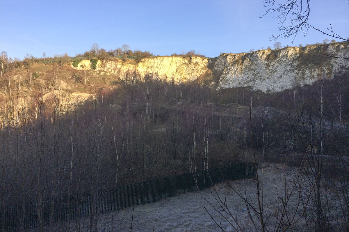 The quarry from just above the railway.  Riddlesdown, 12 January 2014.