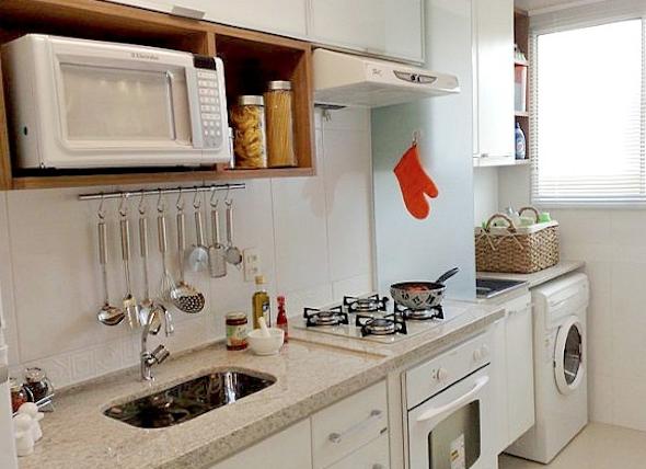 decoracao cozinha e area de servico integradas:Quando se trata de ambientes integrados você pode tentar dividir e