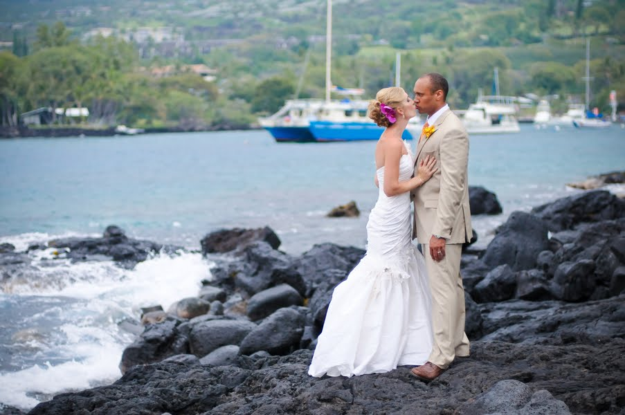 Alison And Keith Also Held Their Reception At The Sheraton Manta Rays Poked Heads Out Of Blue Waters To Join In On Fun With A Volcano