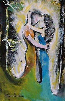Abbraccio coppia dipinti orme magiche quadro disegno pittura spirituale arte zen