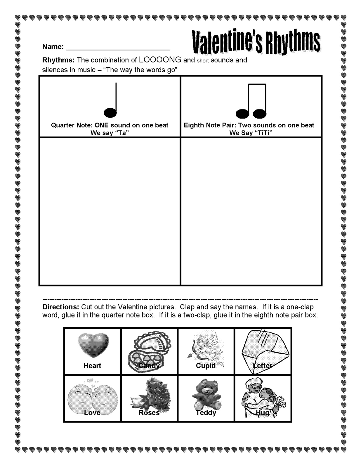 The Sweetest Melody: Valentine\'s Day Rhythm Activity - ta and titi