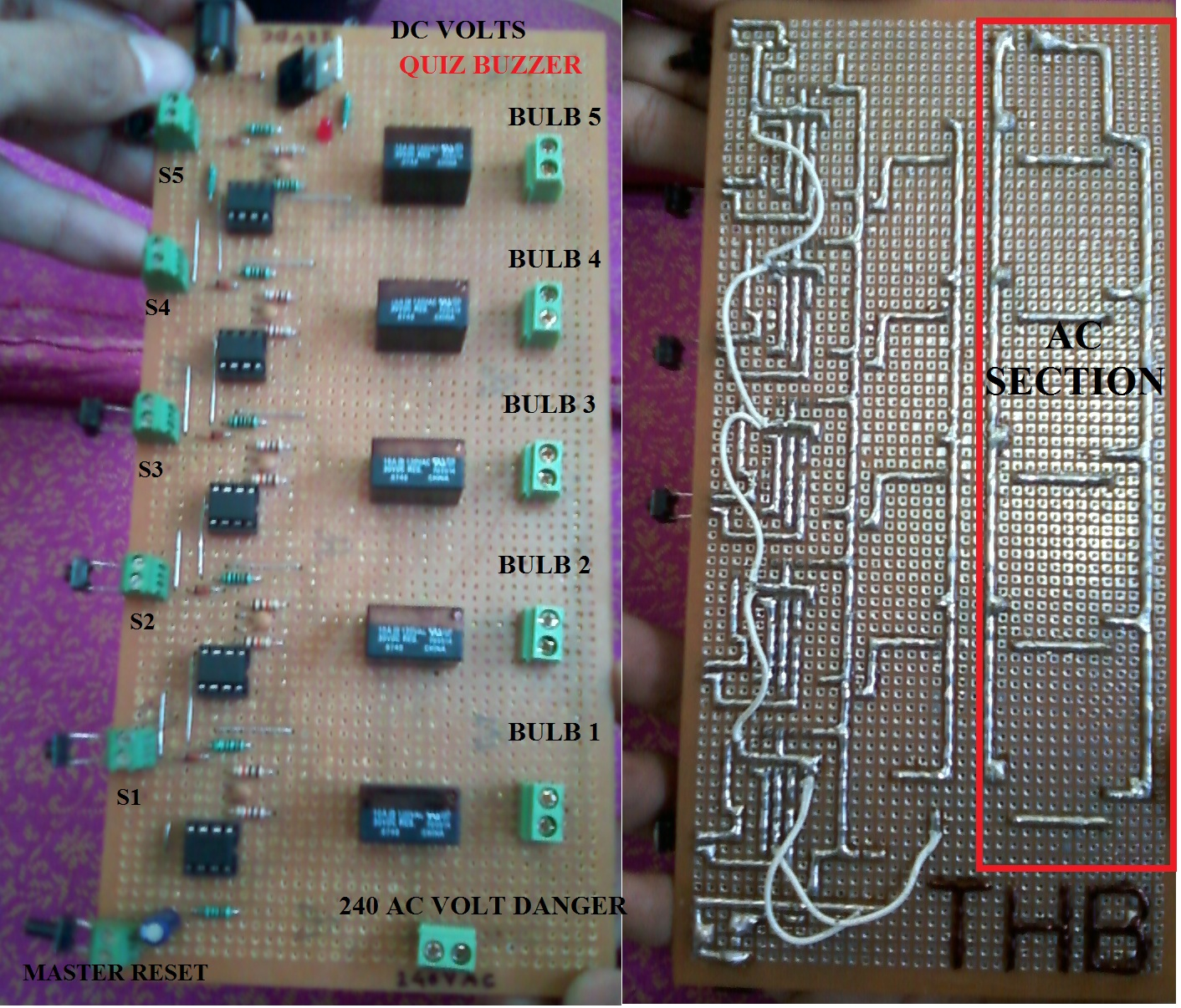 Thbelectronics quiz buzzer in circuit diagram you can easily show that 555 time ic use in bistable mode having two stable output ereis 5 switch of door bell is used ie s1s2s3s4 ccuart Images