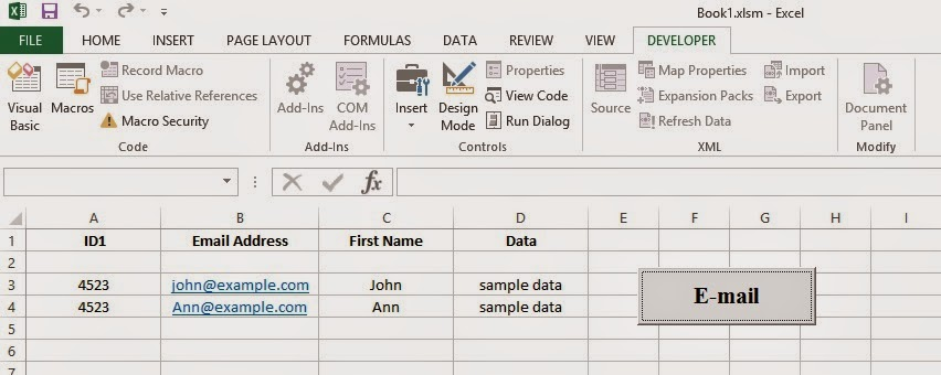 create new email from excel vba create new id based on