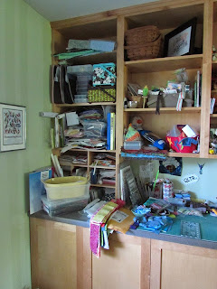 Messy quilt project shelves