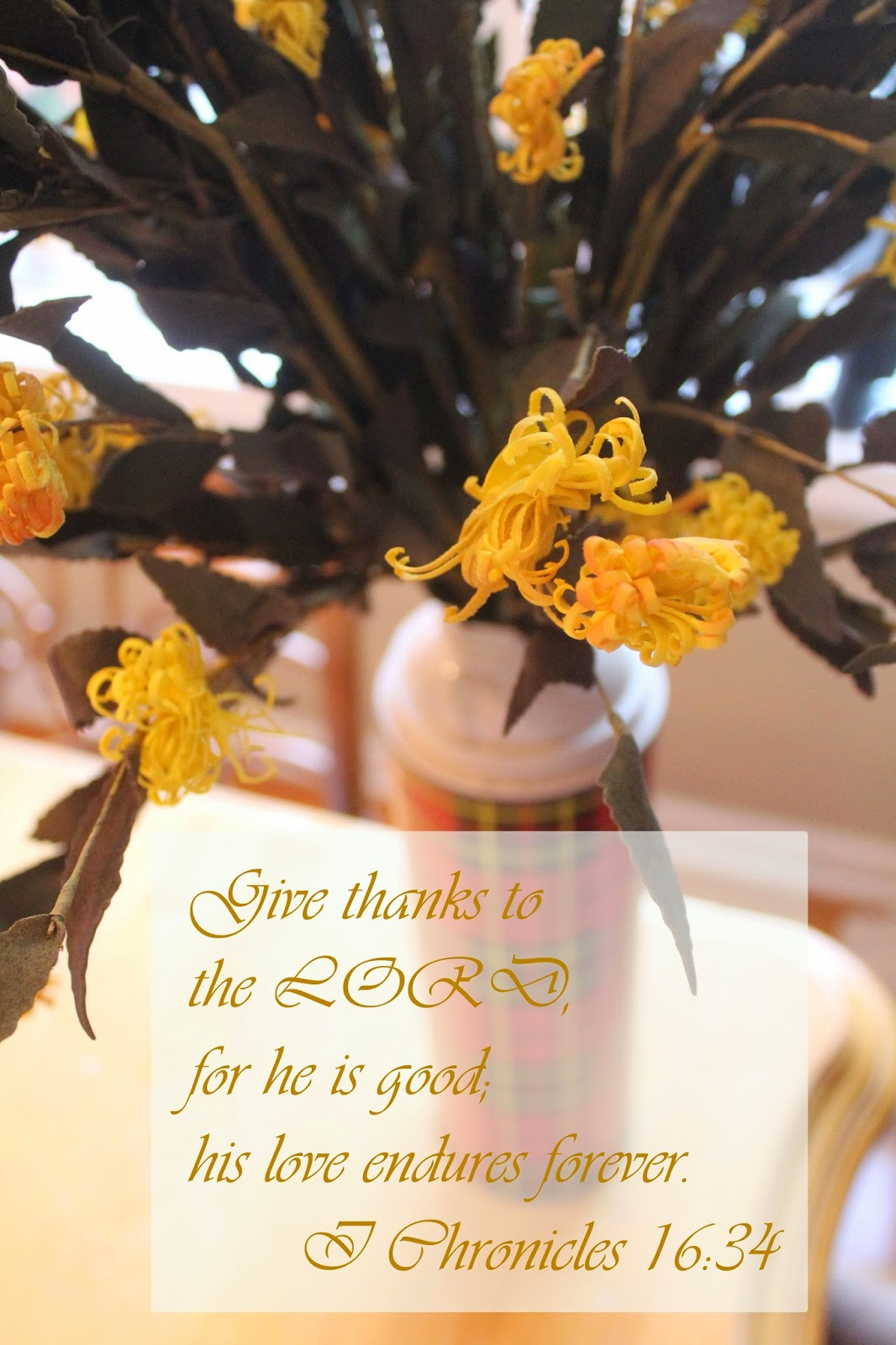 thanksgiving scripture, flowers in vintage thermos, the altered past
