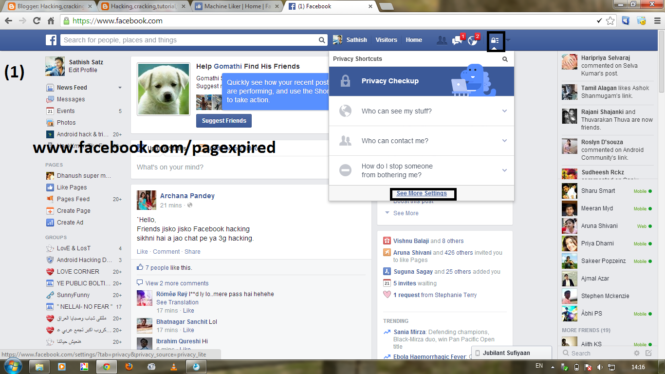 Go to privacy settings on facebook