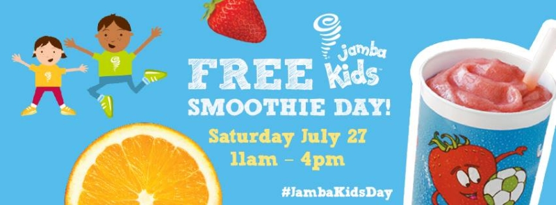 jamba juice is hosting a jamba kids day this upcoming saturday july 27 and will be giving out free jamba kids smoothies from 11am to 4pm to kids under 8