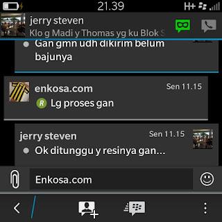 Konfirmasi pengirman jersey Jerry S Kurniawan oleh Enkosa Sport