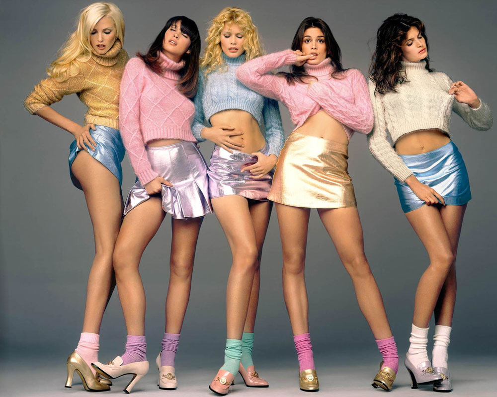 supermodels of the 1990s / SNadja Auermann, Claudia Schiffer, Cindy Crawford & Stephanie Seymour photographed by Richard Avedon for Versace campaign / via fashionedbylove.co.uk british fashion blog