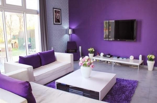 D coration salon avec des accents violets d coration for Salon violet et gris