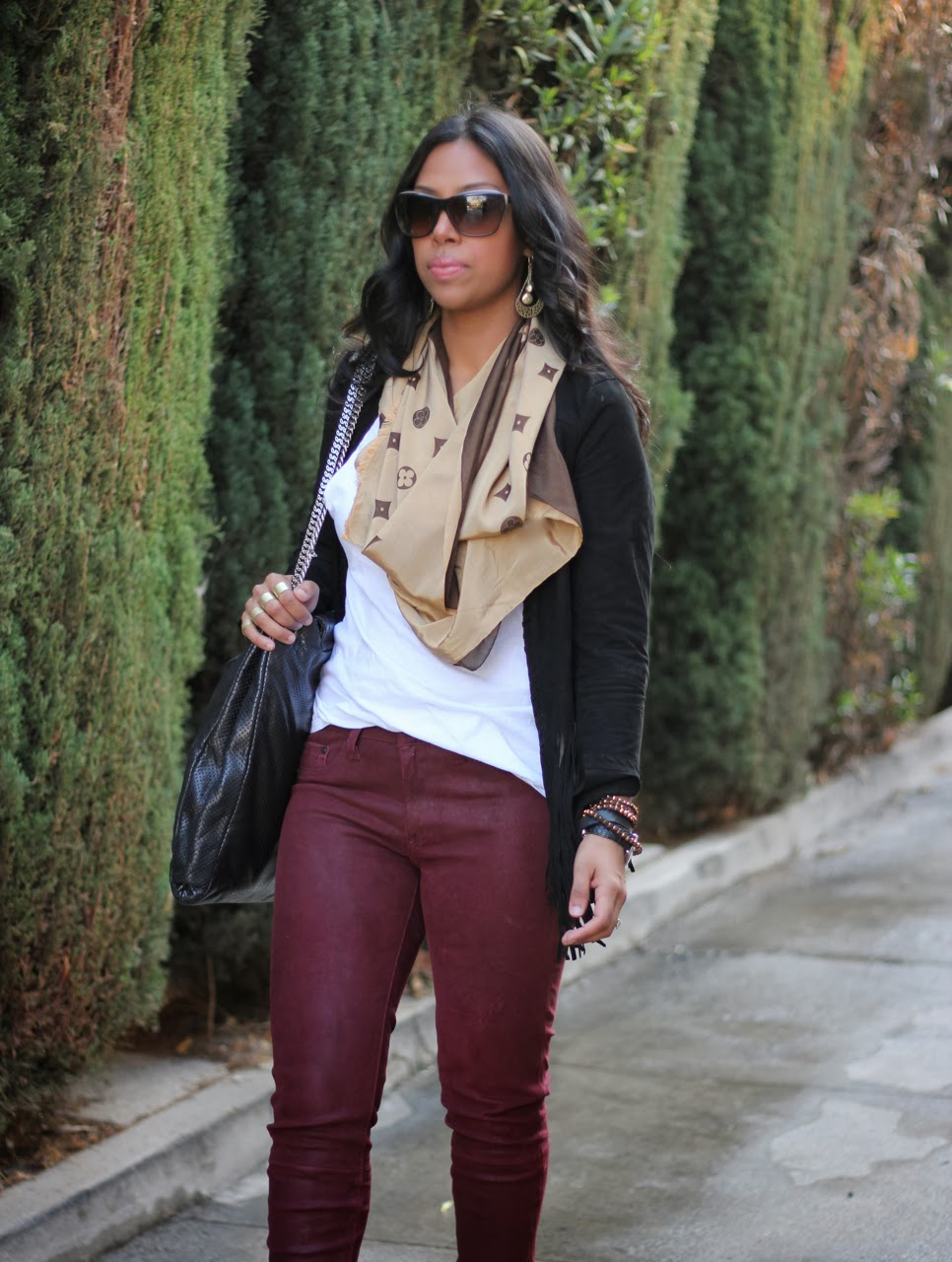 zara rag and bone leather pants oxblood chanel bag sunglasses louis vuitton scarf suede fringe jacket