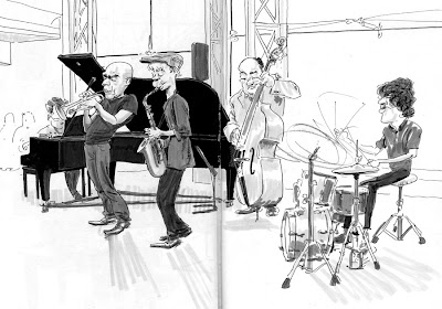 jazz illustration in sketchbook of quintet