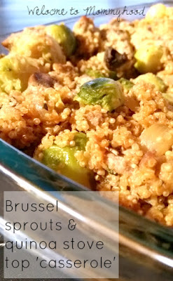 Easy healthy recipes: brussel sprouts and quinoa stove top casserole #easyhealthyrecipes, #realfood, #realfoodforkids, #healthykidsmeals, #vegan, #vegetarian, #glutenfree, #dairyfree