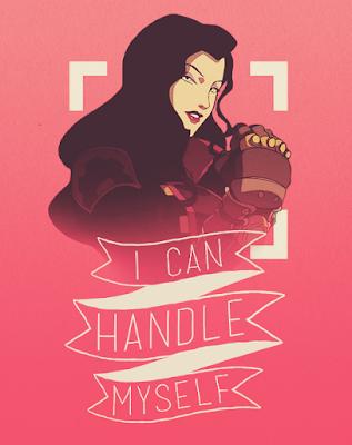 """Na imagem: Uma montagem com uma imagem da Asami com o braço erguido numa posição de """"we can do it"""" e numa faixa embaixo o texto """"I can handle myself"""""""