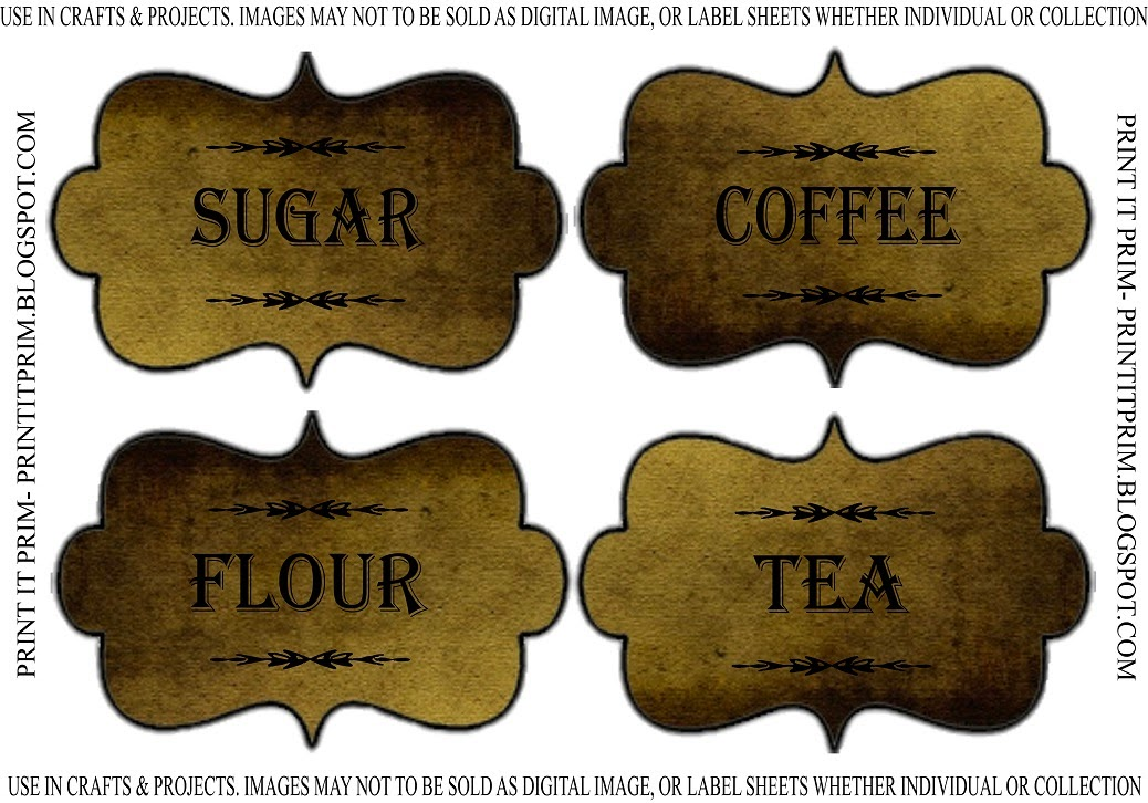 Coffee Tea Flour Sugar Labels Printable