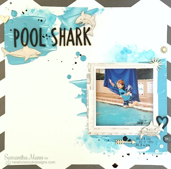 Shark Week - Pool Shark Scrapbook Page by Samantha Mann | Shark Bites Stamp set by Newton's Nook Designs