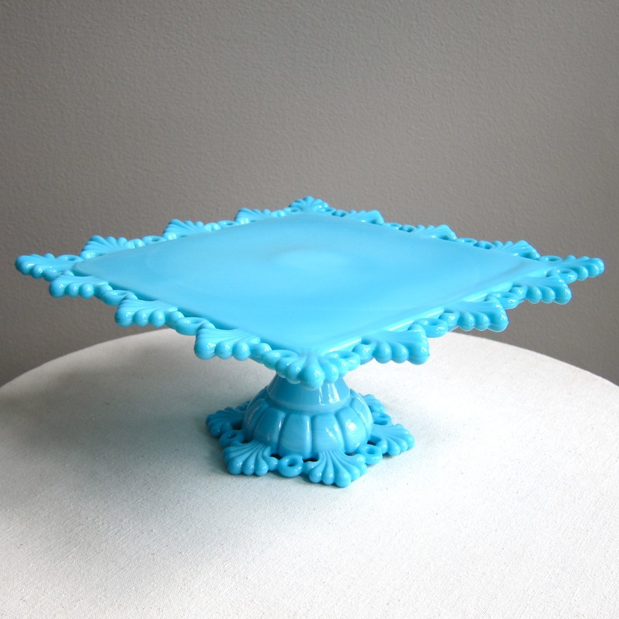 u0027petal and ringu0027 pattern square milk glass cake stand in white and hardtofind blue