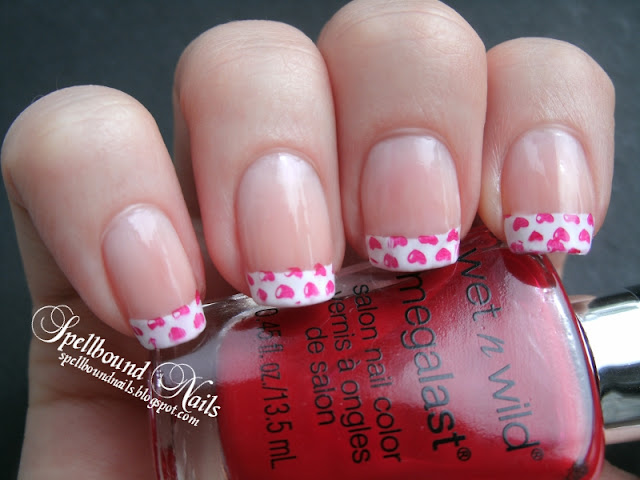 French tips manicure stamped hearts nail art nails