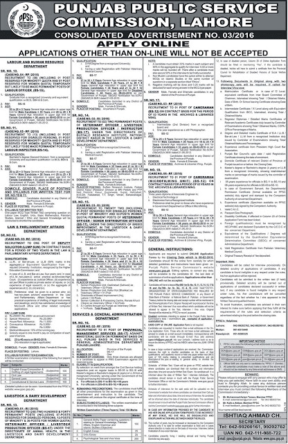 Jobs in Punjab Public Service Commission PPSC Jobs 2016