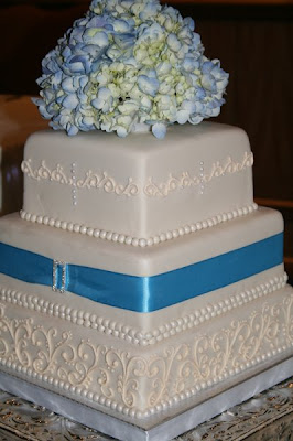 wedding cake with hydrangeas on top
