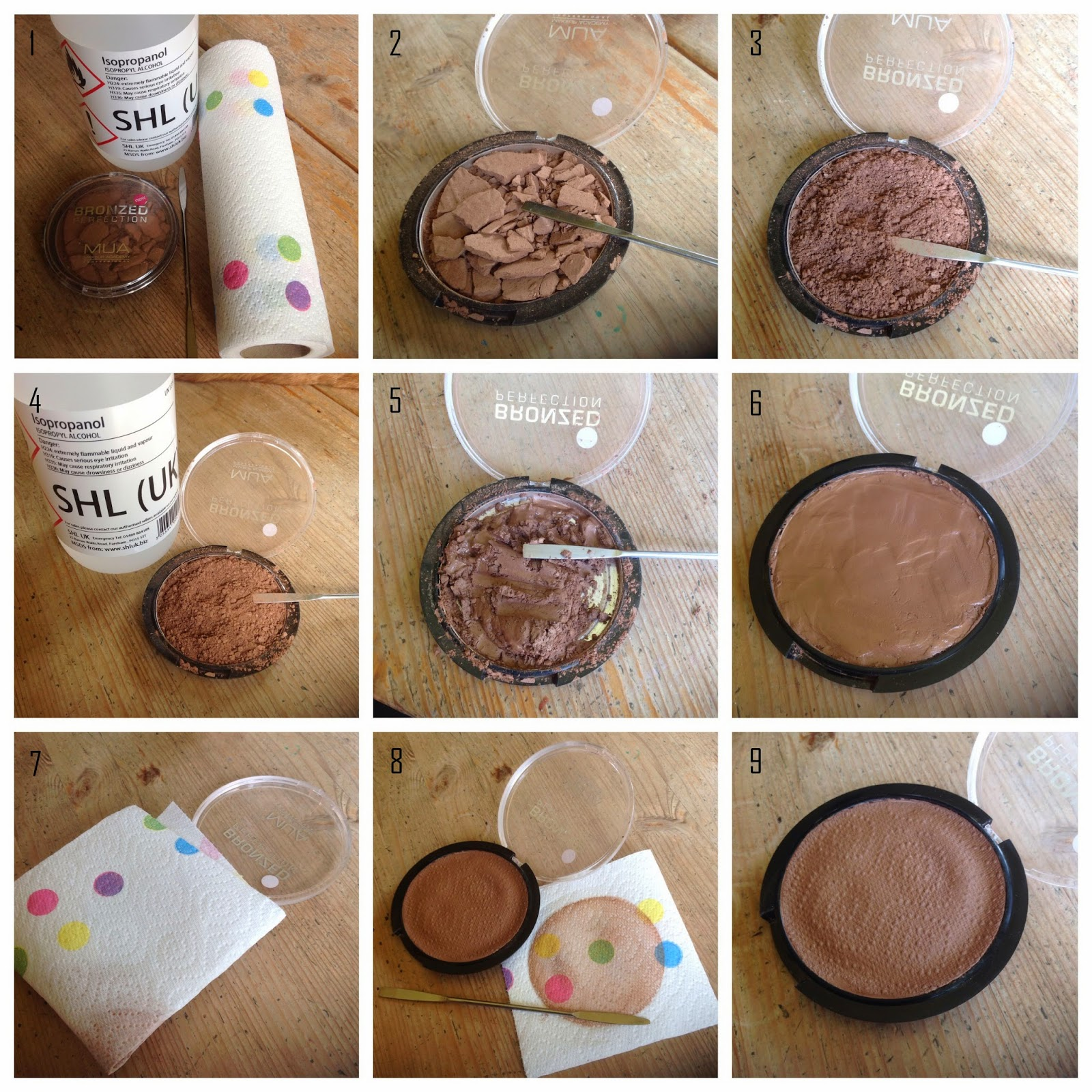 How to fix broken powder makeup with alcohol in four simple steps - Step 1 You Re Going To Need You Re Broken Powder Rubbing Alcohol A Spatula And Some Kitchen Roll