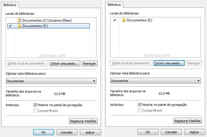 Escolhendo novo local de salvamento para a Biblioteca do Windows 7