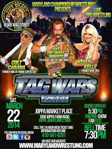 MCW Event Tag Team Wars 2K14 Jake Roberts Colt Cabana Kelly Kelly Poster